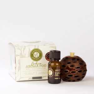 Banksia Aroma pod and eucalyptus oil bottle with presentation box
