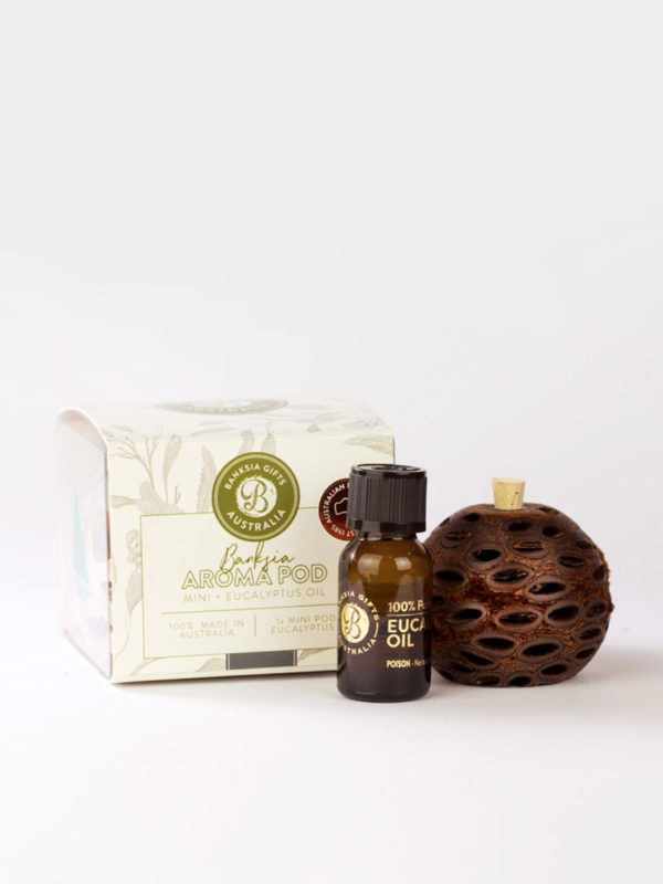 Banksia Aroma pod and eucalyptus oil bottle with presentation box
