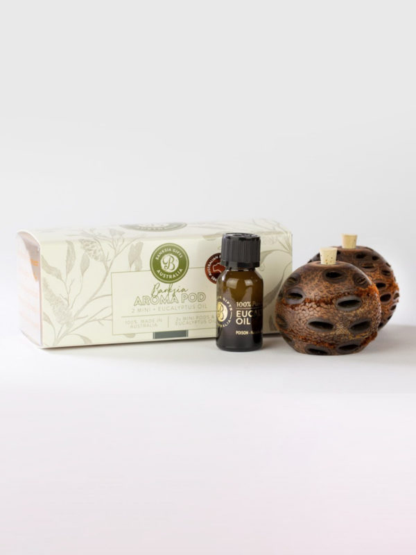 Two Banksia Aroma pods and eucalyptus oil bottle with presentation box