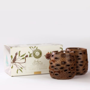 Two hollow banksia pod tea light holders and presentation box
