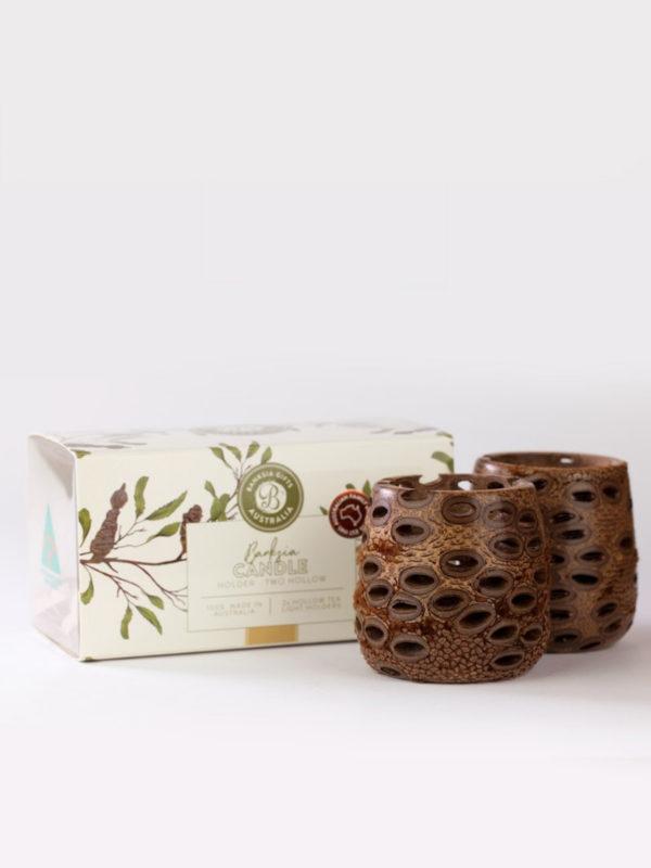 Two hollow banksia pod tea light holders and presentation box