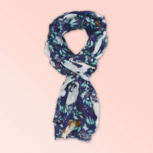 Lightweight fabric scarf in navy with Aussie animals printed on it.