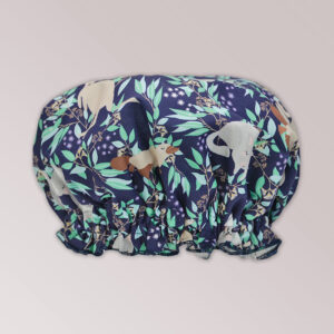 A waterproof shower cap with Aussie Flora fabric on the outside
