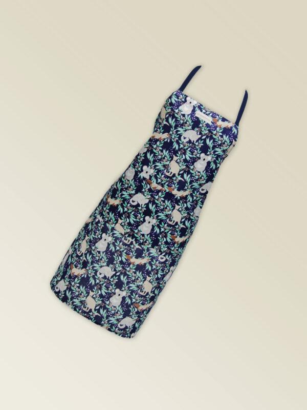 Fabric kitchen apron, dark navy with Aussie Animal print on it