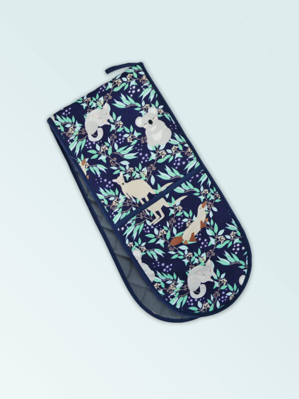 Insulated double oven mitts with an Aussie Animals pattern on the fabric and a dark navy edging..