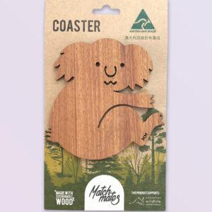Wooden koala shape coaster