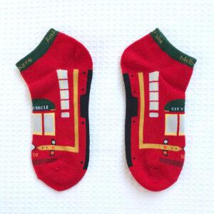 Pair of red Melbourne tram socks