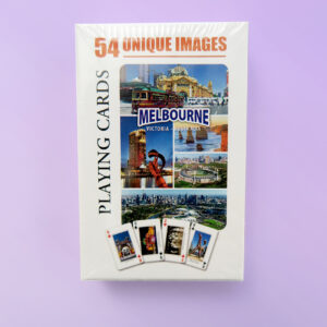 A packet of playing cards with 54 different images of Melbourne.