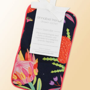 A fabric drawer sachet filled with lavender with an Aussie Flora pattern.