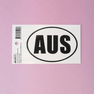 AUS sticker. Black and white