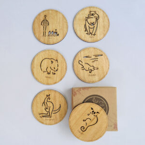 Set of six wooden coasters and their recycled cardboard presentation box. Each coaster is a different animal. They are Emu, Koala, Wombat, Platypus, Kangaroo and Possum