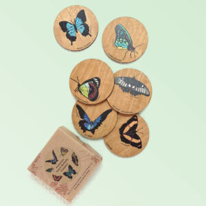Set of six wooden coasters and their recycled cardboard presentation box. Each coaster is a different coloured butterfly.