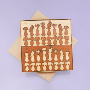 Australian Made wooden chess set made with light and dark timber. It is in its recycled cardboard presentation box