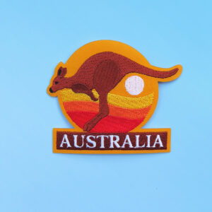 Kangaroo sunset embroidered badge