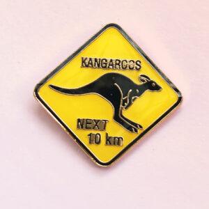 Kangaroo Road Sign hat pin