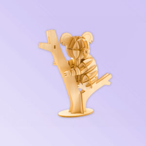 Wooden Koala in a gum tree model