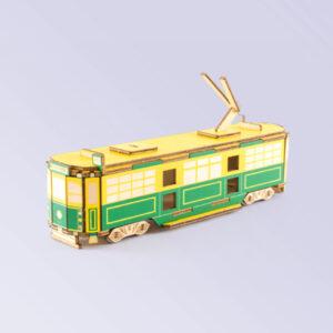 Wooden coloured Melbourne tram model