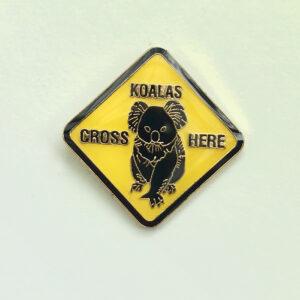 Koala Road Sign hat pin