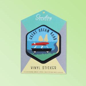 Australian Made vinyl sticker of The Great Ocean Road. A simple cute design sticker in a nice card flat package