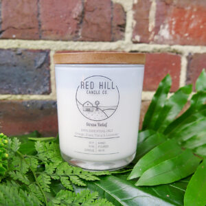 Red hill large natural soy wax candle. Its aroma is Stress Relief