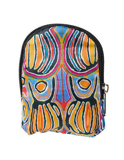 Foldable shopping tote featuring Judy Watsons artwork. Showing it folded up and neatly zipped away into a pouch that attached to the bag