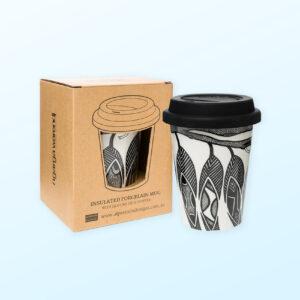 Dancing Wombat porcelain travel mug and recycled cardboard box