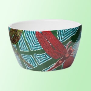 Porcelain nut bowl with dragonfly artwork by Sheryl Burchill