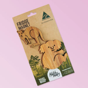 Kangaroo and koala shaped magnet two pack presented on recycled card.