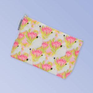 Large waterproof cosmetic bag with a pink cockatoo pattern on it and a zip closure.