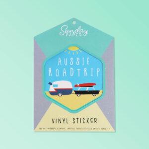 Australian Made vinyl sticker of an Aussie Road Trip. A simple cute design sticker in a nice card flat package