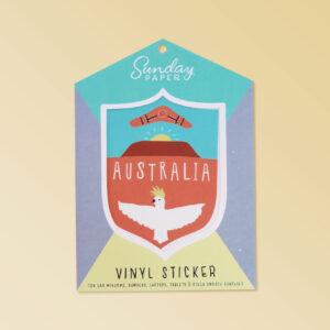 Australian Made vinyl sticker of Australia featuring Ulura, a cockatoo and a boomerang. A simple cute design sticker in a nice card flat package