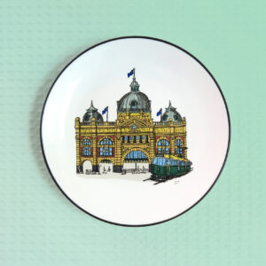 Flinders Street Station design porcelain canape plate by Squidinki