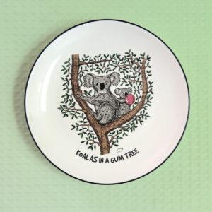 Koala in a Gum Tree design porcelain canape plate by Squidinki