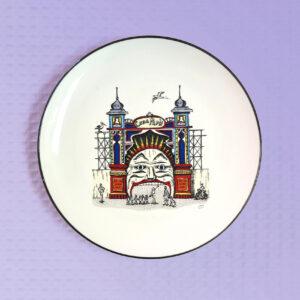 Luna Park design porcelain canape plate by Squidinki