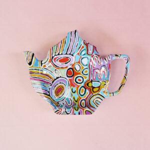 Melamine tea bag holder in the shape of a teapot