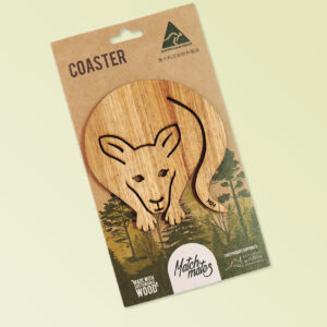 A wooden kangaroo shape coaster on a recycled card for presentation