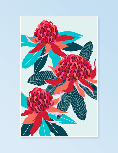 A pale blue cotton tea towel with a large red Waratah print on it.
