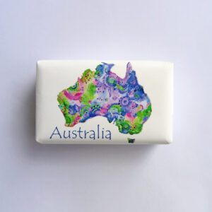 Bar of soap wrapped in paper with an Australia Map design.