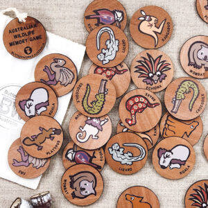 Wooden Australian Wildlife memory game. 24 round wooden discs with pairs of 12 different Australian animals.