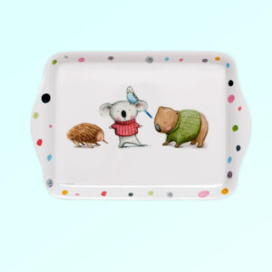 Melamine small white tray with Barney Gumnut illustrations. The characters are an echidna, a koala, a budgie and a wombat .