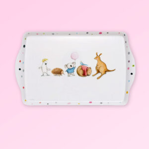 Melamine large white tray with Barney Gumnut illustrations. The characters are a cockatoo, an echidna, a koala, a wombat and a kangaroo.