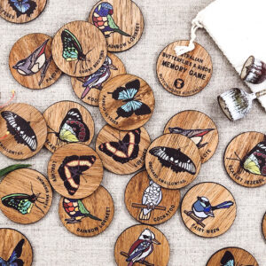 Wooden Australian Butterflies and Birds memory game. 24 round wooden discs with pairs of 12 different Australian butterflies and birds.