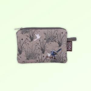 Fabric small purse with zip closure with an embroidered pair of blue wrens perched in grasses. The fabric is a natural Australian organic cotton.