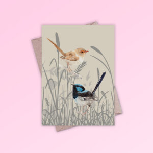 Greeting card printed in Australia. Made with recycled card. It has an image of a pair of blue wren birds in grassland on the front and is blank inside.