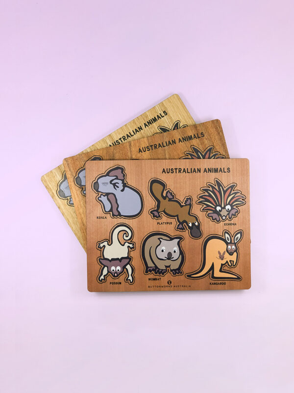 A wooden Australian animal puzzle. Rectangular in shape with 6 different colourful animal shapes to place back in the correct cut out shape.