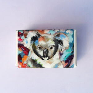 Bar of soap wrapped in paper with a Koala design.