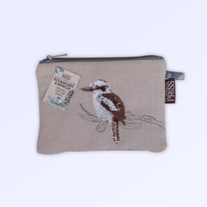 Fabric purse with zip closure made with Australian organic cotton fabric and featuring an embroidered Kookaburra