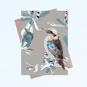 Greeting card printed in Australia. Made with recycled card. It has an image of a kookaburra and banksia flowers on the front and is blank inside.