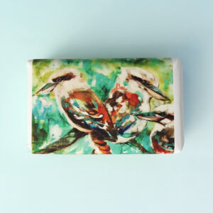 Bar of soap wrapped in paper with a Kookaburra bird design.