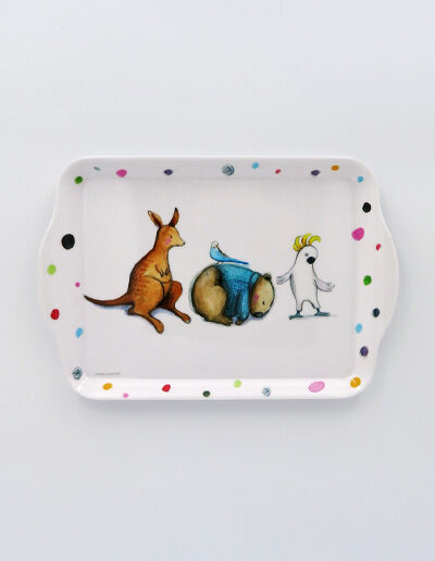 Melamine small white tray with Barney Gumnut illustrations. The characters are a cockatoo, a wombat and a kangaroo.